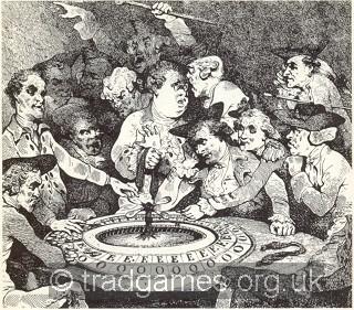 Ci-dessus, c'est une table EO antique. À droite, un dessin animé de Thomas Rowlandson de l'époque montre un peu de cafouillage autour d'une telle table.